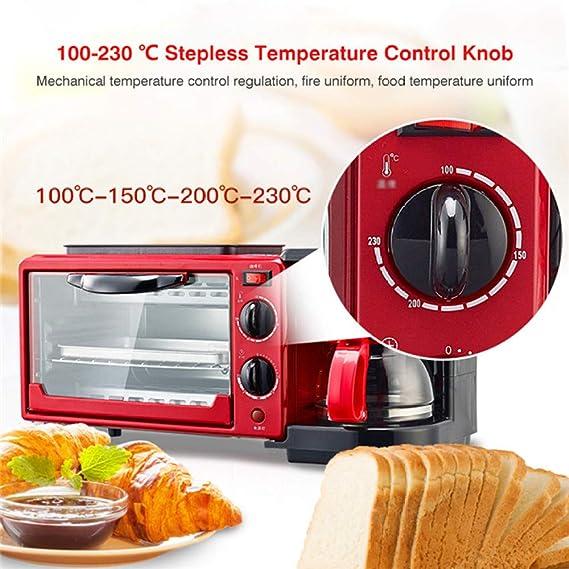 LI DANNA Máquina De Desayuno Casera 3 En 1 Cafetera Sartén Pan Tostadora Horno Eléctrico Máquina para Hornear Pan,Red: Amazon.es: Hogar