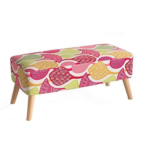 Amazon.com: LJFYXZ taburete tapizado otomano de madera ...