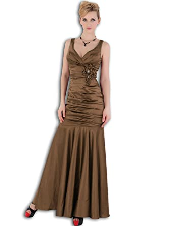 Vilavi Womens Mermaid/Trumpet V-neck Long Flower Prom Dresses UK 14 Brown