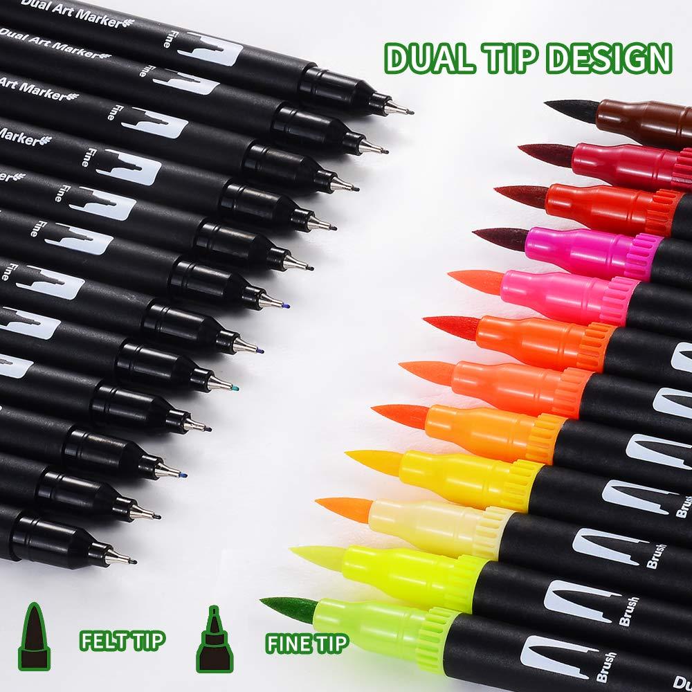 24 puntas de pincel de doble punta c/ómic caligraf/ía dibujo Pluma de dibujo de acuarela marcadores de acuarela para colorear no t/óxico