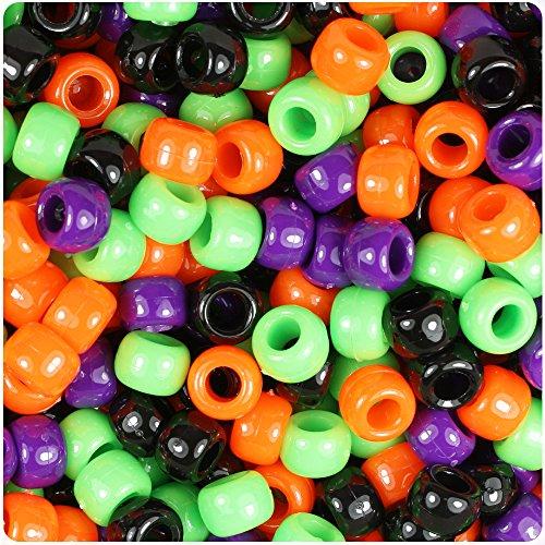 BEADTIN Halloween Mix Opaque 9mm Barrel Pony Beads (500pc)