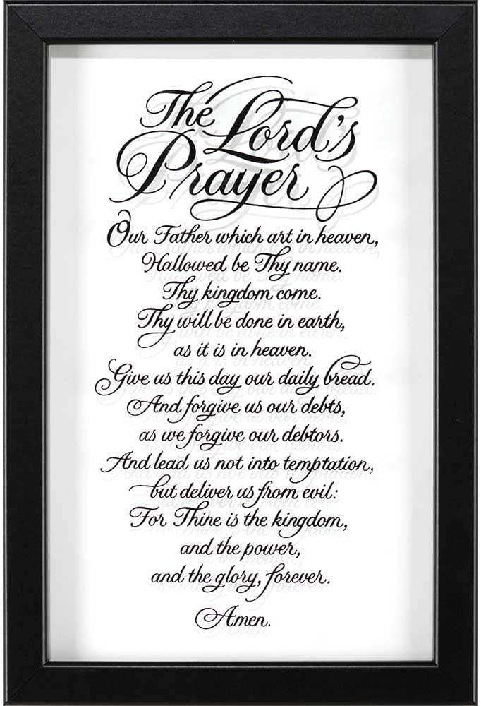 Dicksons The Lord's Prayer Calligraphy Black Silhouette 12 x 18 Wood Wall Sign Plaque