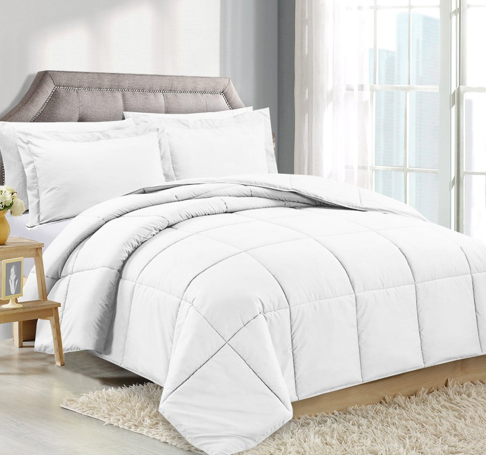 Queen Comforter Reversible Duvet Insert - White - Hypoallergenic, Plush Siliconized Fiberfill, Box Stitched, Luxury Goose Down Alternative Comforter, Protects Against Dust and Allergens