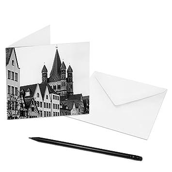 Juego de 5 tarjetas de letra Colonia - 14 x 14 cm - Interior: vacío