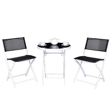 Giantex 3 Pcs Bistro Folding Table Chairs Set Dining Garden Backyard Patio Furniture (Black)  sc 1 st  Amazon.com & Amazon.com: Giantex 3 Pcs Bistro Folding Table Chairs Set Dining ...