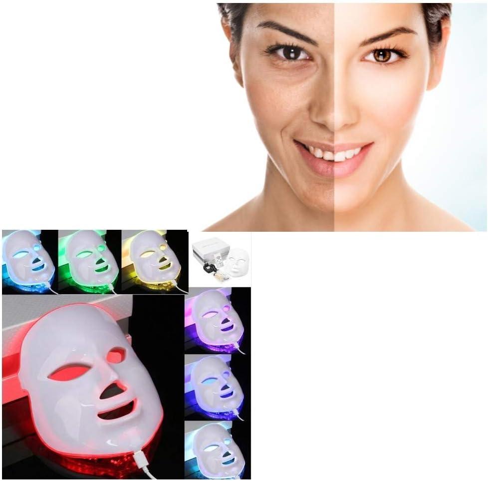 NUEVO! Máscara de belleza LED, 7 colores, luz LED eléctrica, masaje, facial, cuidado de la piel, terapia de rejuvenecimiento antienvejecimiento, antiacné, pieles sin imperfecciones: Amazon.es: Belleza