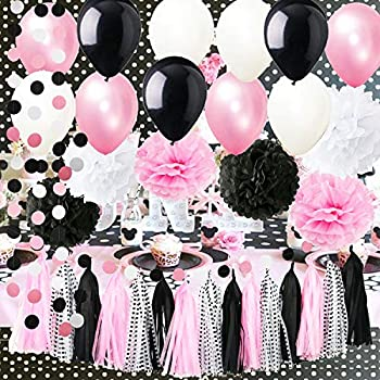 Minnie Mouse Party Supplies Minnie Mouse Birthday Party Decorations Polka Dot Tassel Garland Tissue Pom Pom White Pink White Polka Dot Ballons Mickey