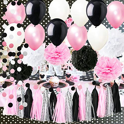Minnie Mouse Party Supplies Minnie Mouse Birthday Party Decorations Polka Dot Tassel Garland Tissue Pom Pom White Pink White Polka Dot Ballons Mickey Minnie Mouse Party Decorations -