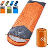 oaskys Camping Sleeping Bag - 3 Season Warm & Cool Weather - Summer Spring Fall Lightweight Waterproof for Adults & Kids - Camping Gear Equipment Traveling and Outdoors (Orange 7530inch)