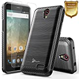 zte prelude 2 cell phone - NageBee [Carbon Fiber Brushed] [Dual Layer] Protector Hybrid Case w/[Tempered Glass Screen Protector] For ZTE Maven 3, ZTE Overture 3, ZTE Prelude Plus (4G LTE), ZTE Prestige 2 -Black