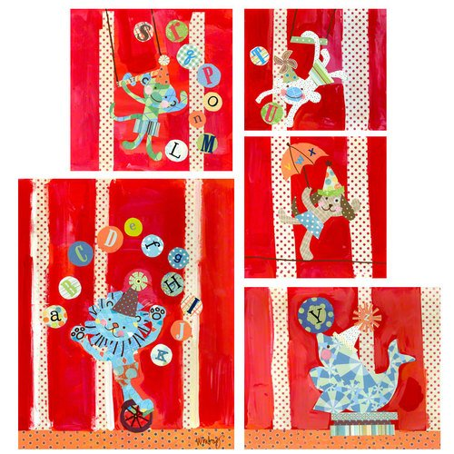 Oopsy Daisy Big Top Alphabet Circus Set Canvas Wall Art, Red