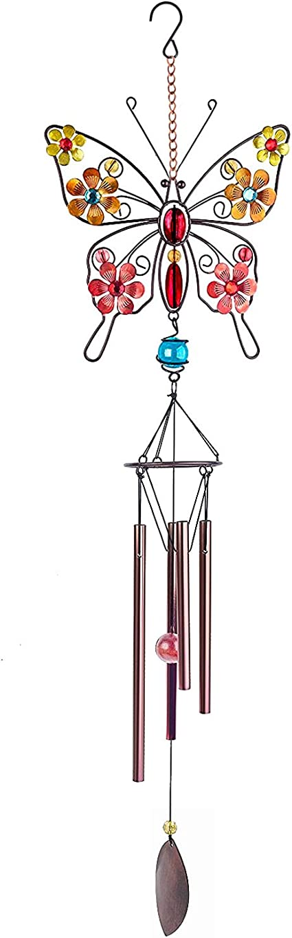 QINGJIE 3D Butterfly Wind Chime Outdoor Indoor Metal Windchimes with 4 Hollow Aluminum Tubes S Hook Decor for Garden 29.5 Yard Decoration Blue Pink Garden Festival Decor Party for Home