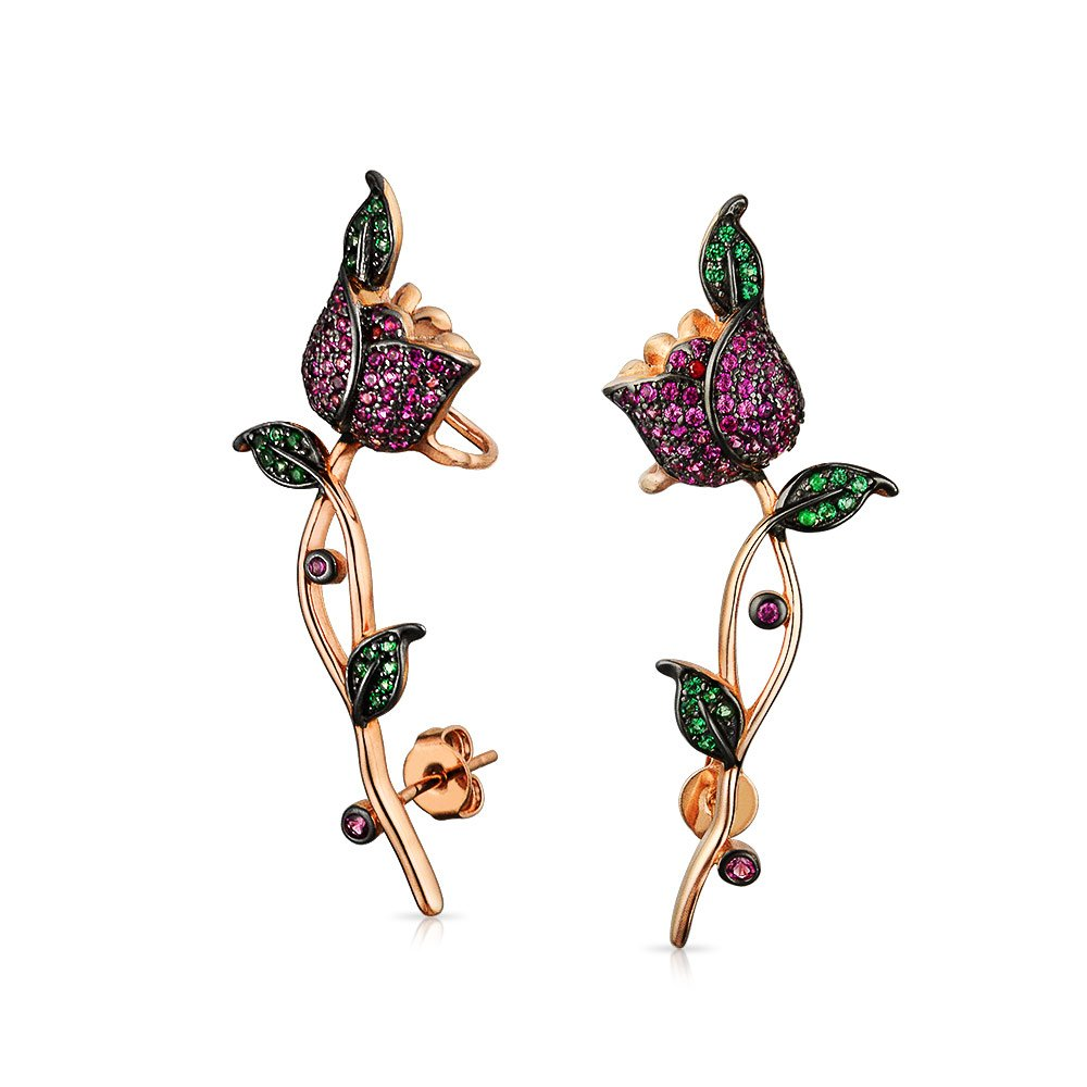 Bling Jewelry CZ Rose Flower Rose Gold Plated Ear Crawler Earrings SLS-496E5034