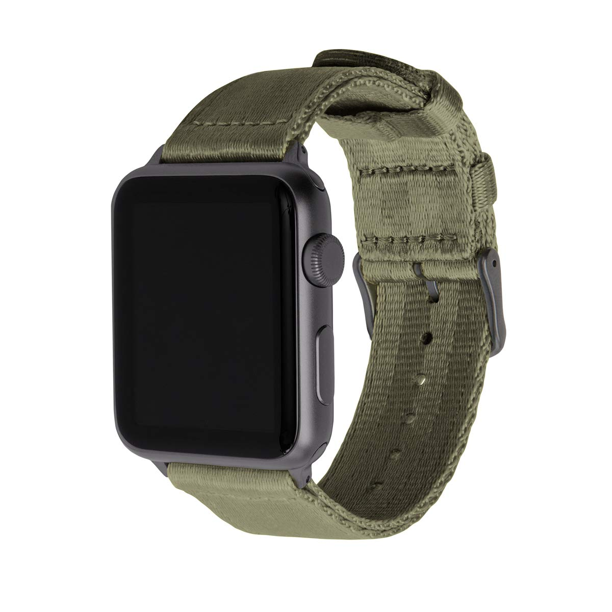 Archer Watch Straps - Seat Belt Nylon Watch Bands for Apple Watch (Olive, Space Gray, 42/44mm) by Archer Watch Straps
