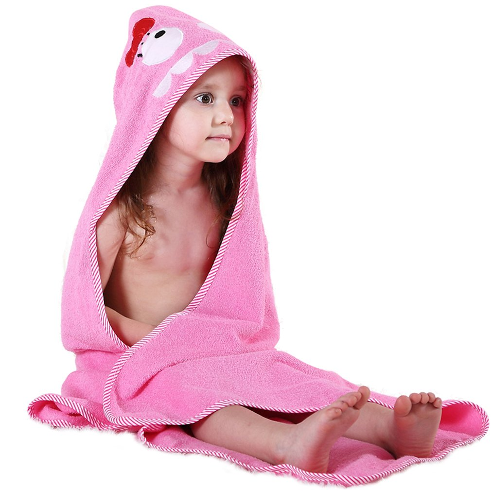 MICHLEY Animal Hooded Baby Towel Washcloth, Toddler Premium Cotton Absorbent Bathrobe for Girls Boys 0-6T (Fox) AP21-Fox