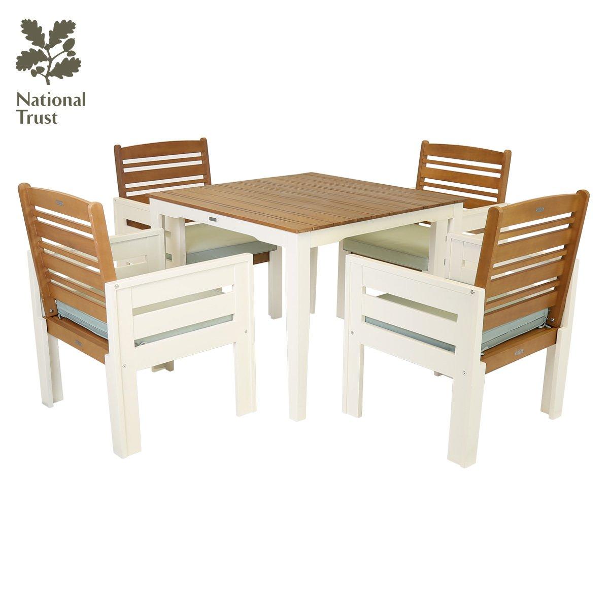 Charles Bentley National Trust Kingston - 5-tlg. Gartenmöbel-Set - Tisch & 4 Stühle - Grün oder Creme - Creme