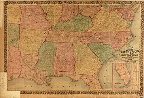 Vintage 1861 Map of Colton's map of the southern states : including Maryland, Delaware, Virginia, Kentucky, Tennessee, Missouri, North Carolina, South Carolina, Georgia, Alabama, Mississippi, Arkansas, Louisiana, Texas : showing also part of adjoining states & territories locating the forts & military stations of the U. States & showing all the rail roads, r.r. stations & other internal improvements. - Relief shown by spot heights and hachures. - Prime meridian: Washington, D.C. - Available also