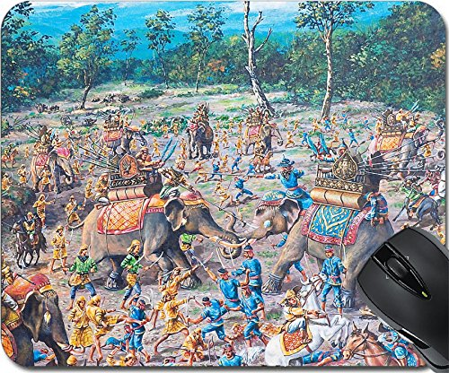 Price comparison product image MSD Mousepad Mouse Pads / Mat design 12836780 llect Oil painting on canvas ancient battle in asia between Thai army and Burma army