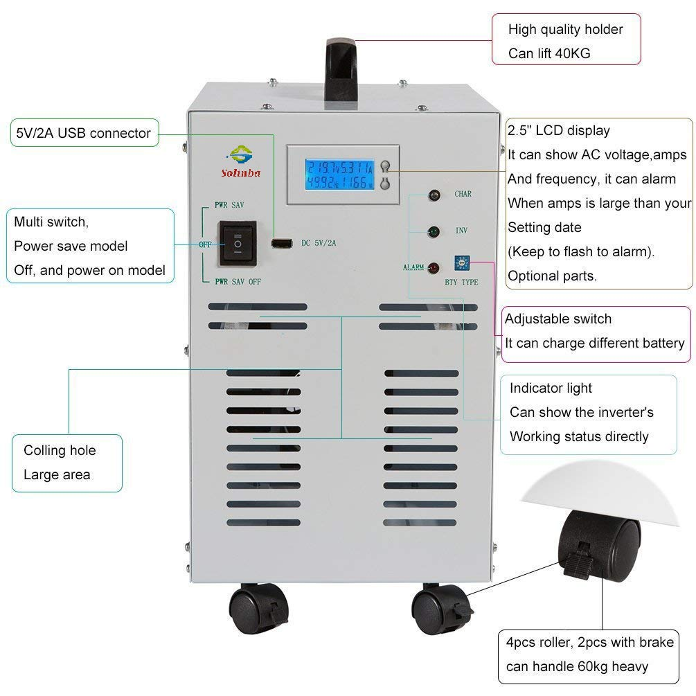 Solinba 4kwpeak 12kw Converter Generator Pure Sine Five Battery Low Voltage Alarm Indicator Circuits Wave Off Grid Power Inverter 80a Charge Function Dc48v To Ac110v 60hz Dc Ac Lcd