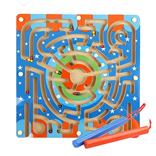 Magnetic Maze - Fengirl Wooden Maze Puzzle Magnetic Board Game Educational Toys for Toddlers Kid