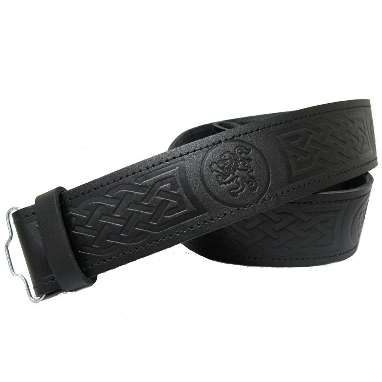 Geprägter schottischer Kiltgürtel aus Leder mit Löwenmuster