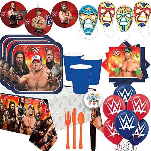 Mega Wrestling WWE Birthday Party Supplies Pack For 16 With Plates, Cups, John Cena Napkins, Tablecover, DIY Wrestling Masks, Cutlery, Honeycomb Deco, Balloons, and Exclusive Pin -