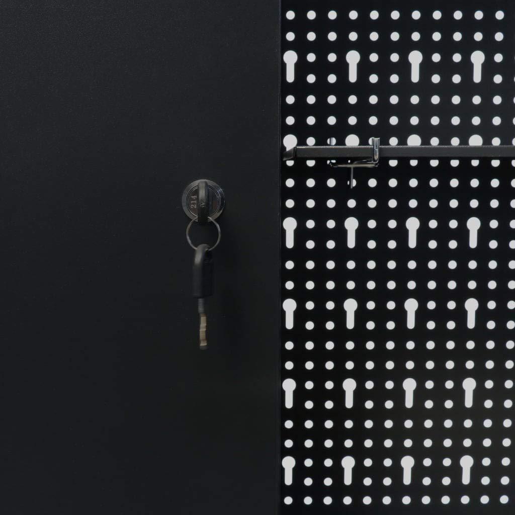 vidaXL Armoire /à Outils Murale M/étal Industriel Noir Atelier Bo/îte /à Outils