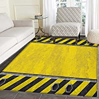 Construction Area Rug Carpet Under Construction Design Rusty Grunge Working Site Sign Rough Display Living Dining Room Bedroom Hallway Office Carpet 4x5 Yellow Green Black