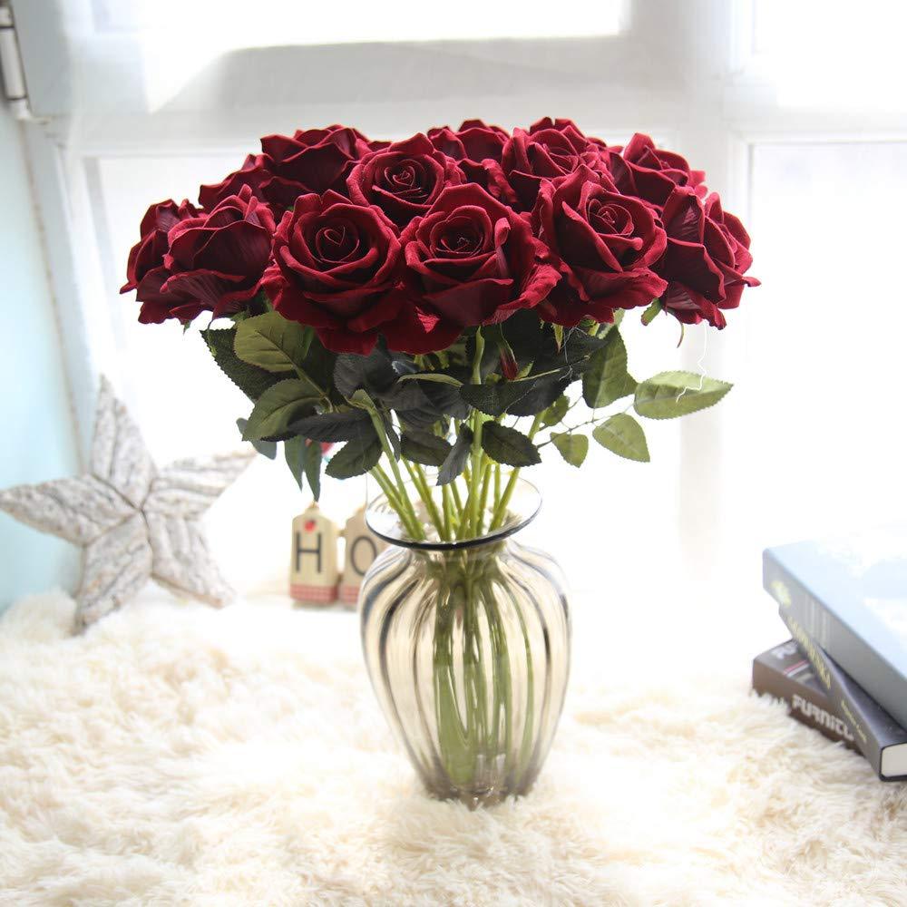 Faux Fleur, Hunpta 1piè ce artificielle Faux roses Flanelle Fleur fê te de mariage Home Decor Red Hunpta 1pièce artificielle Faux roses Flanelle Fleur fête de mariage Home Decor Red Hunpta@