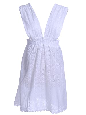 Anna-Kaci S/M Fit White All Over Vertical Vine & Circle Pattern Eyelet Dress