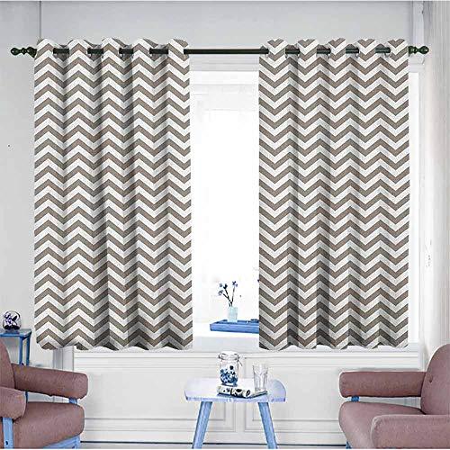 HOMEDD Window Blackout Curtains,Chevron Grey and White Zig Zag Lined Striped Pattern Modern Design Artistic Print,Energy Efficient, Room Darkening,W55x45LWarm Taupe White