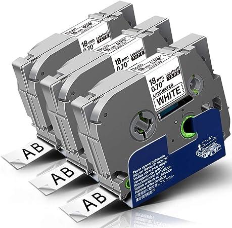 Image of 3x Labelwell 18mm Tzc-241 Negro sobre Blanco Compatible Etiquetas Reemplazo para Brother TZ Tze-241 Tze241 Laminado para Brother P-touch CUBE PLUS PT-P710BT D450VP D400VP PT-1890 2030 PT-H500LI P750W