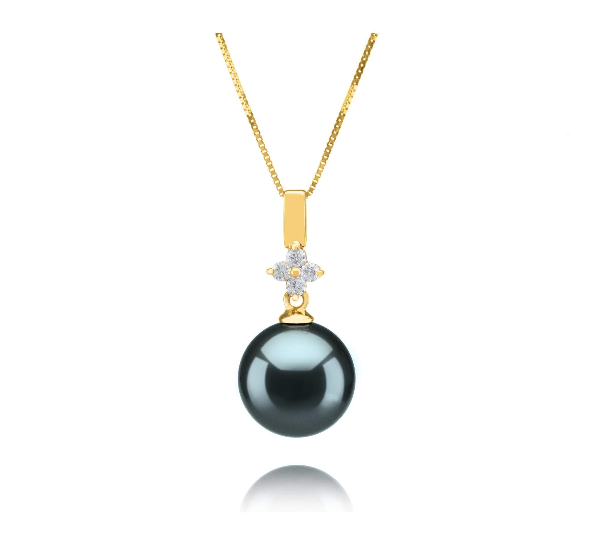 Hilda Black 10-11mm AAA Quality Tahitian 14K Yellow Gold Cultured Pearl Pendant For Women