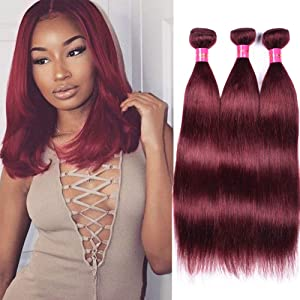FASHION LADY Brazilian Human Hair Weaving 3 Bundles 99J Burgundy 100% Unprocessed Brazilian Virgin Straight Human Hair Weft Extensions (#99J, 14 16 18 Inch)