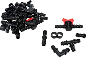 FarBoat Drip Irrigation Fittings Kit 42Pcs Barbed Hose Connectors for 1/2