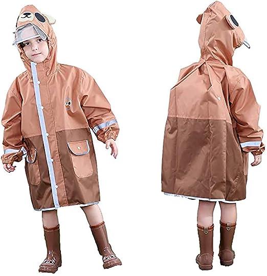 Impermeabile per Bambini Tuta per Bambini Impermeabile con Cappuccio Resistente Alla Pioggia 3-5 anni,Verde