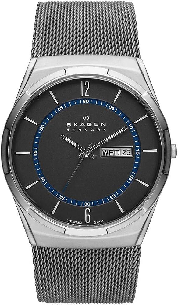 Skagen Men s Titanium Mesh Watch with Blue Accents