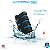 ZAAP (USA) 9100mAh Defender Universal Power Bank, Waterproof /Shockproof/Dirtproof Panasonic Cells Turbo charging 2.1A CES Battery Charger