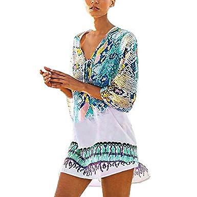 ec8643cda3ef3 LuckUK Womens Beach Cover Up Ladies Bohemia Swimsuit Beachwear Bikini Cover  Up Chiffon Loose Beach Dress Mini Shirt Dress (Blue, One Size): Amazon.co.uk:  ...