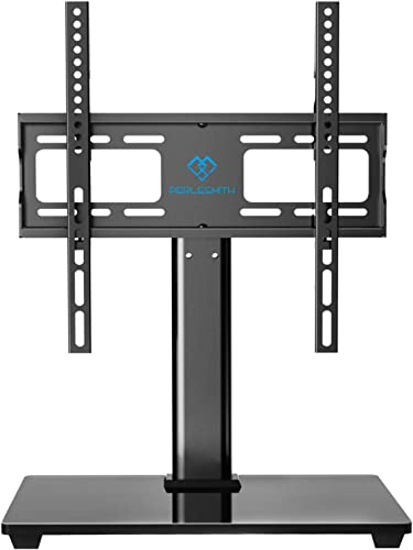 PERLESMITH Swivel Universal TV Stand Base – Table Top TV Stand for 32-55 inch LCD LED TVs – Height Adjustable TV Mount Stand with Tempered Glass Base, VESA 400x400mm, Holds up to 88lbs