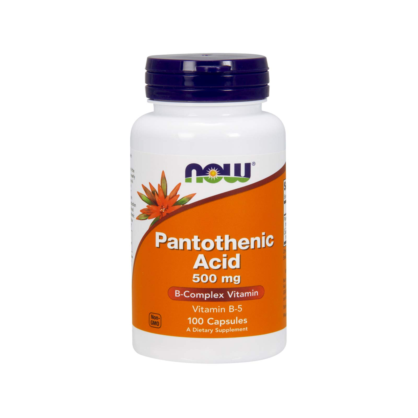 NOW Pantothenic Acid 500mg, 100 Capsules (Pack of 2) by NOW Foods