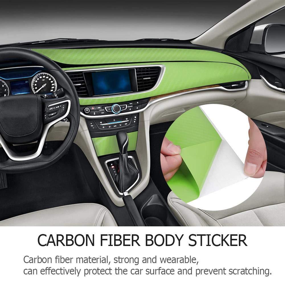 Verde 127X10cm Starnearby Coche de La Fibra de Carbono Etiquetas Engomadas del Coche de La Pel/ícula del Abrigo del Coche del Cambio del Color de La Fibra de Carbono 3D