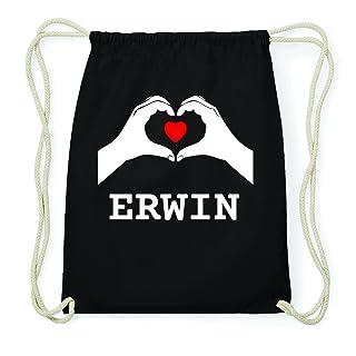 JOllify Erwin Hipster Sacca Borsa Zaino in cotone–colore: nero