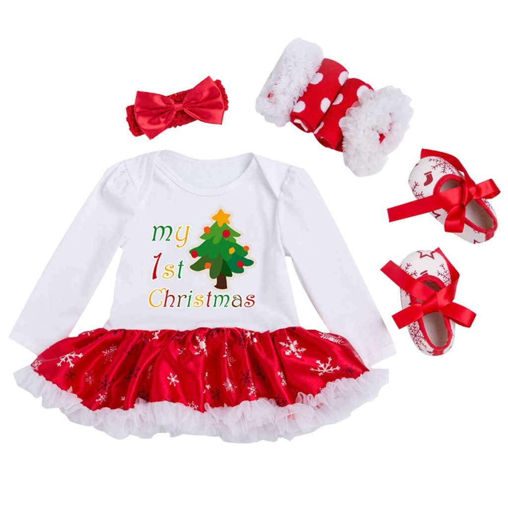 Vine Newborn Baby Girl Christmas Dress Romper Jumpsuit Santa Suits Outfit Vine Trading Co. Ltd B170911PF202V