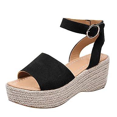 97f19719b6 Women's Espadrille Sandals Flatform Wedge Ankle Strap Open Toe Sandals  Women Thick Heel Pump Dress Shoes