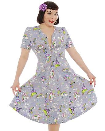 4c6ecdffd71a Lindy Bop 'Ionia' Grey Magic Unicorn Print Tea Dress: Amazon.co.uk: Clothing