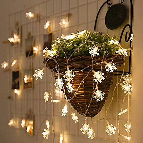 Mini Twinkle Sphere (LED String Lights Qorol Christmas Snowflake Lights Battery Operated Waterproof 20ft, 40 LED Lights for Bedroom, Corridor, Patio, Garden, Yard, Photo Frame)