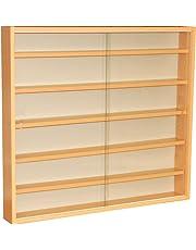 WATSONS REVEAL - 6 Shelf Glass Wall Collectors Display Cabinet - Beech
