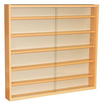 REVEAL - 6 Shelf Glass Wall Collectors Display Cabinet - Beech ...