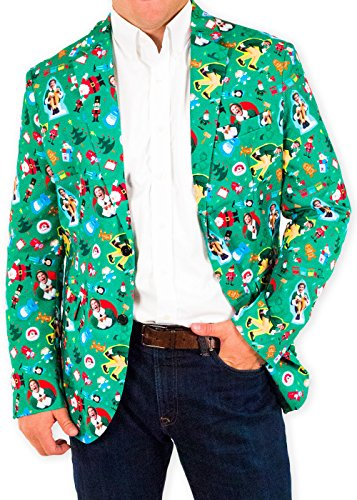 Men's The Festive Elf Holiday Christmas Suit Coat and Tie by Festified (52) (Mens Christmas Suits)